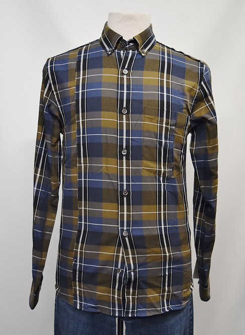 Public School Green & Navy Plaid Shirt Size Small