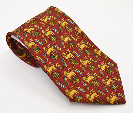 Salvatore Ferragamo Red Lion Silk Tie