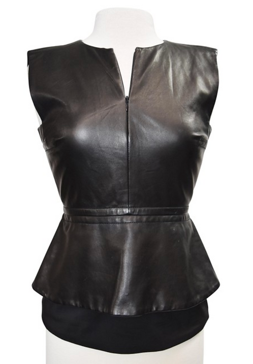 Diane Von Furstenberg Black Leather Top Size 4