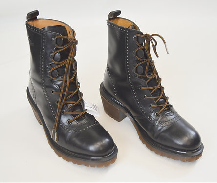Doc Martens Black Leather Heeled Boots Size 8