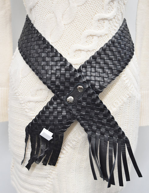 Worth Black Woven Belt Size Small