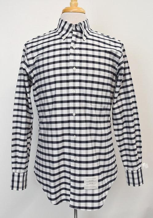 Thom Browne White & Navy Check Shirt Size Medium