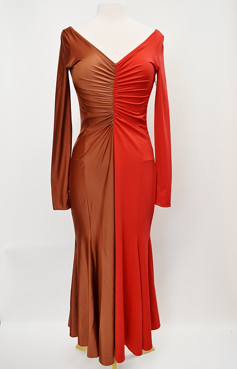 Marine Serre Copper & Red Maxi Dress Size M/L