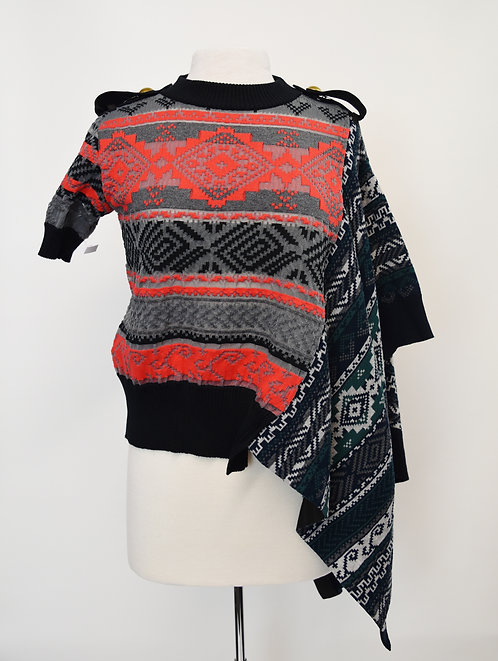 Sacai Multi-Colored Asymmetrical Sweater Size Small