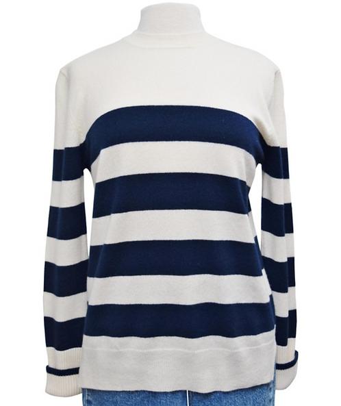 La Ligne Cream & Navy Stripe Sweater Size Small
