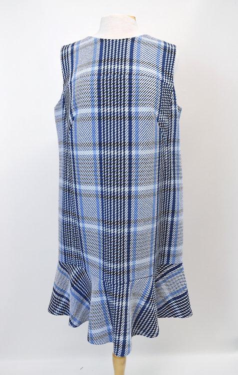 AKRIS Blue Plaid Tweed Dress Size Large (14)