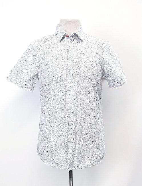 Paul Smith White & Blue Print Shirt Size Medium