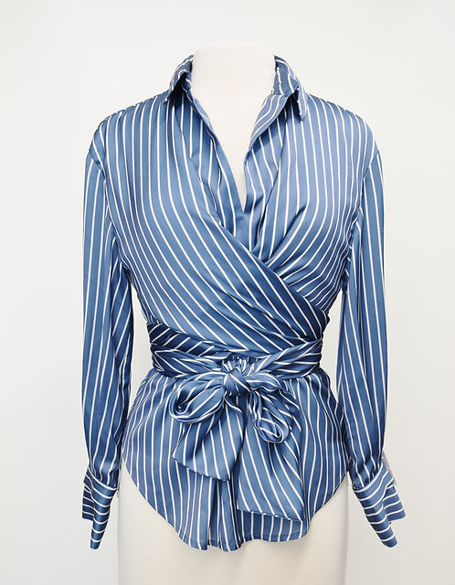 Maje Blue Stripe Wrap Blouse Size 2