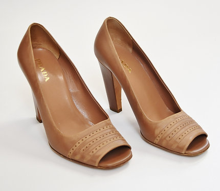 Prada Tan Leather Heels Size 7.5