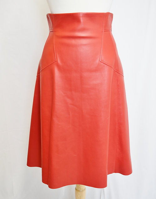 Alexander McQueen Red Leather Skirt Size 8