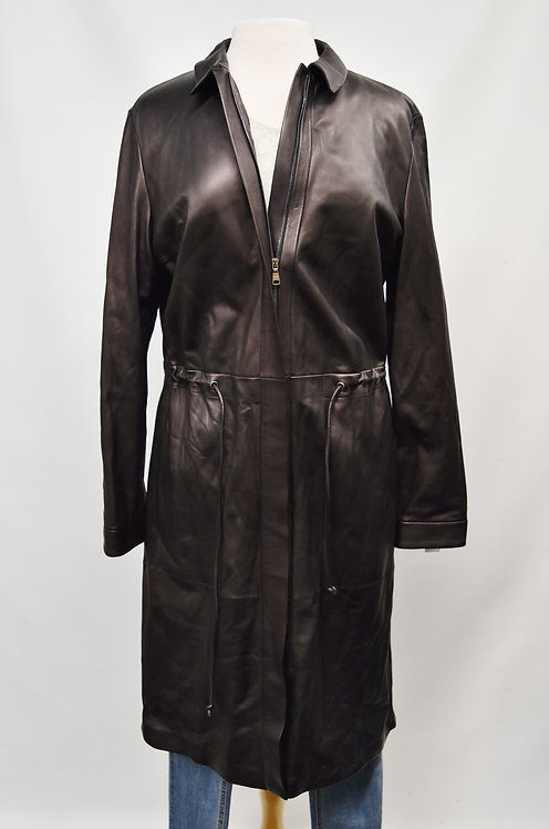 Strenesse Brown Leather Coat Size Medium (8)