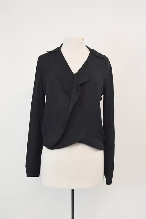 L'Agence Black Silk Blouse Size XS