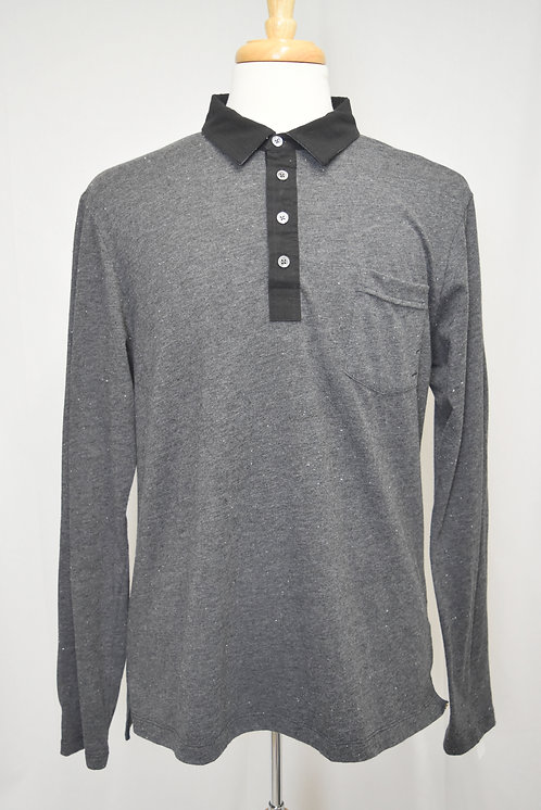 Billy Reid Gray Long Sleeve Polo Size XL