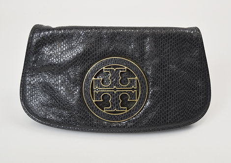 Tory Burch Black Snakeskin Embossed Clutch