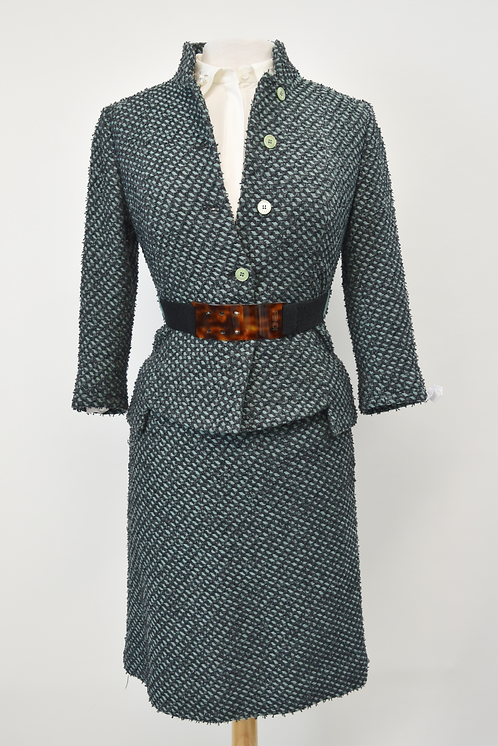 Fendi Teal Tweed Skirt Suit Size XS