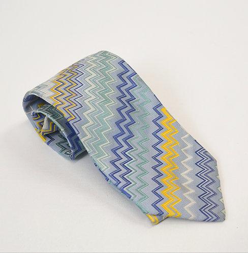 Missoni Blue Chevron Silk Tie