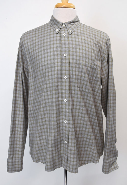 Billy Reid Gray Plaid Shirt Size Large
