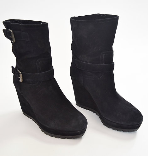 Prada Suede Wedge Boots Size 9