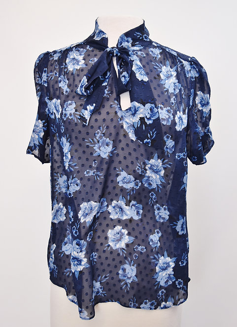Kate Spade Navy Floral Chiffon Top Size Medium