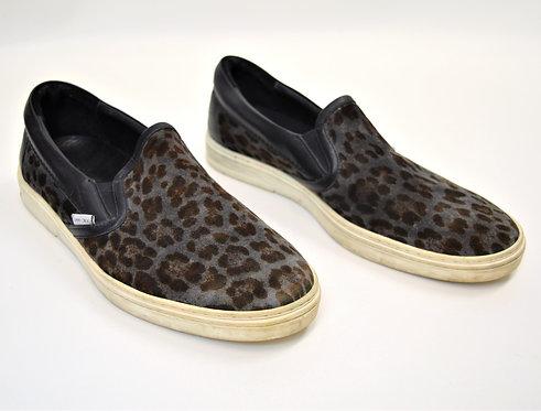 Jimmy Choo Gray Cheetah Print Sneakers Size 10