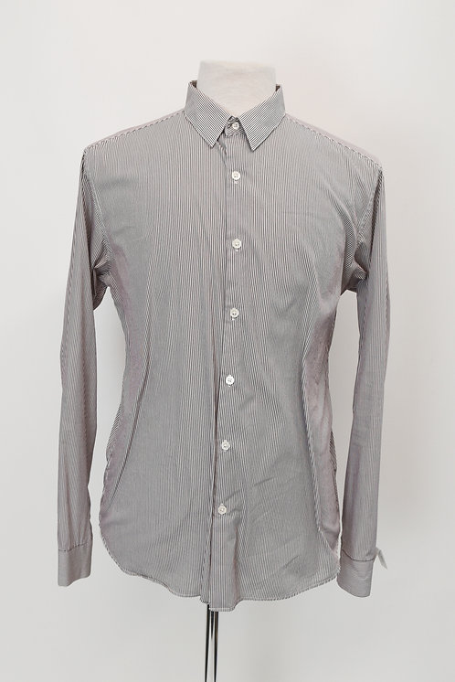Theory White & Brown Striped Shirt Size Large
