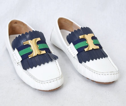 Tory Burch White Leather Loafers Size 6