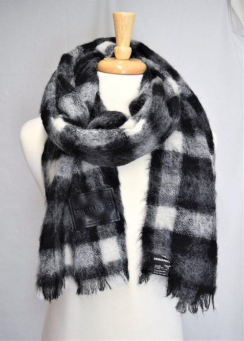 DSquared2 Black & Gray Plaid Alpaca/Mohair Scarf