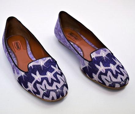 Missoni Purple Chevron Knit Flats Size 8