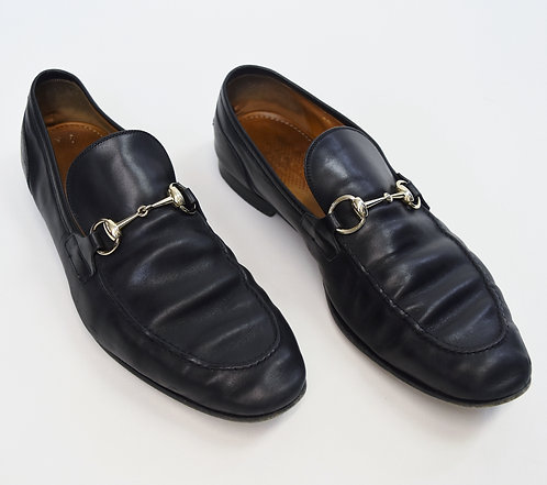 Gucci Black Leather Horsebit Loafers Size 9.5