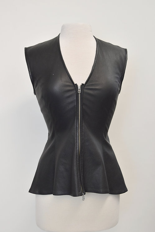 Veronica Beard Black Leather Top Size Small