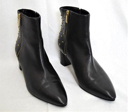Diane Von Furstenberg Black Leather Studded Booties Size 8.5