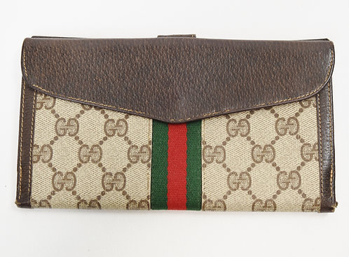Gucci Monogram Canvas & Brown Leather Wallet