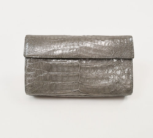 Nancy Gonzalez Gray Crocodile Leather Clutch