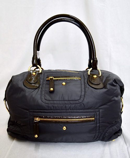 Tod's Dark Gray Nylon & Patent Leather Shoulder Bag