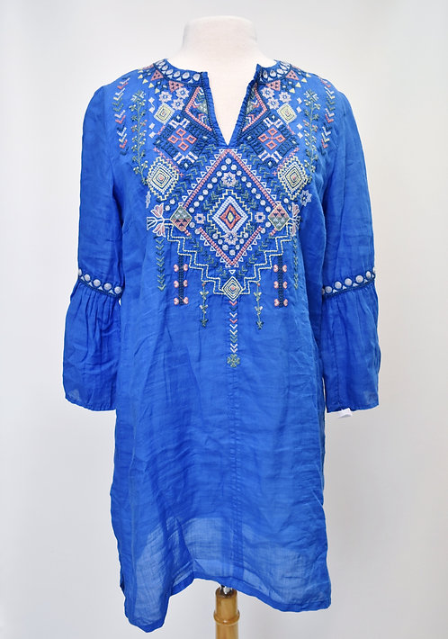 Johnny Was Blue Embroidered Dress Size Small