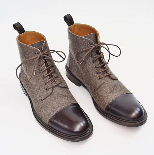 Taft Brown Leather & Tweed Boots Size 10