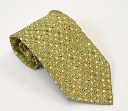 Salvatore Ferragamo Green Print Silk Tie