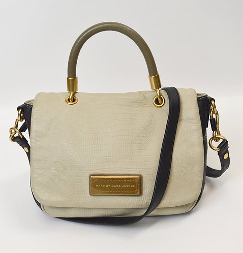 Marc By Marc Jacobs Ivory & Navy Leather Satchel