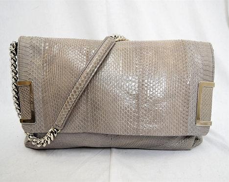 Jimmy Choo Gray Snake Textured Leather Shoulder Bag