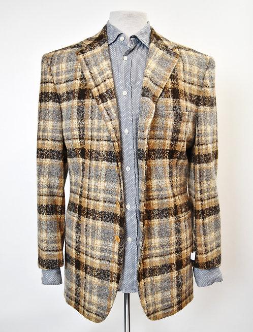 Versace Brown Plaid Tweed Coat Size 44R