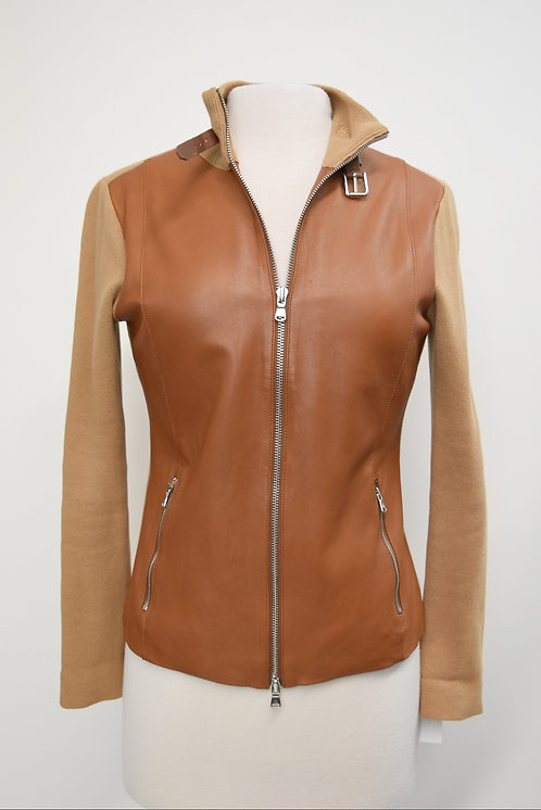 Ralph Lauren Tan Leather & Knit Zip-Up Size Small
