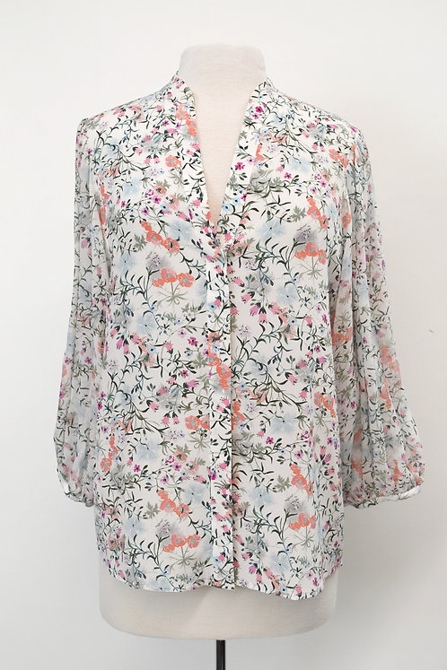 Saloni White Floral Silk Blouse Size 2