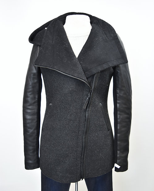 Mackage Charcoal Gray Hooded Coat Size Small