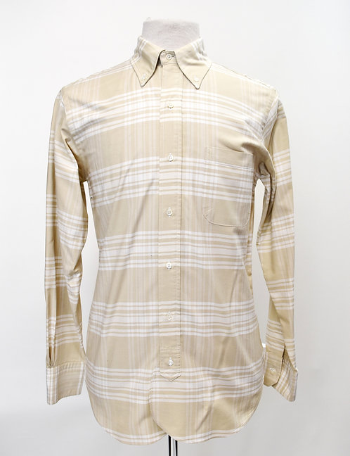 Brooks Brothers Black Fleece Beige Plaid Shirt Size Medium