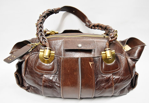 Chloe Brown Leather Heloise Handle Shoulder Bag