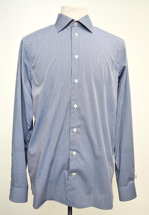 Eton Blue Check Print Shirt Size Large