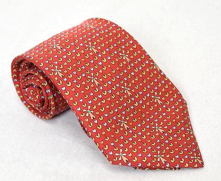 Hermes Red Print Silk Tie