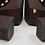 Thumbnail: Charles David Gold Studded Wood Heels Size 7