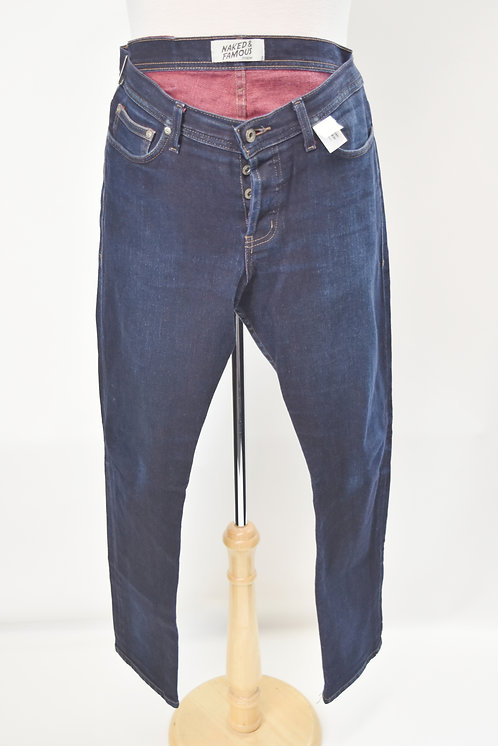 """Naked & Famous """"Weird Guy"""" Dark Wash Jeans Size 34"""