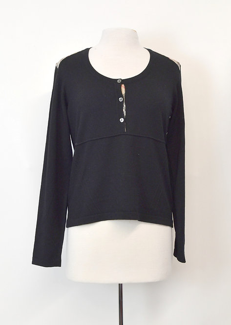 Burberry Black Knit Sweater Size Medium